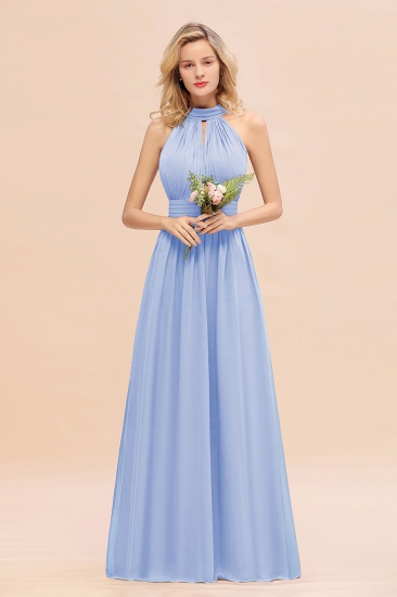 Glamorous High-Neck Halter Bridesmaid Affordable Dresses with Ruffle_22