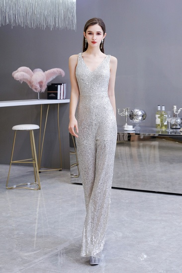 Stunning Sequins V-Neck Sleeveless Jumpsuit Event Party Gowns On Sale_5