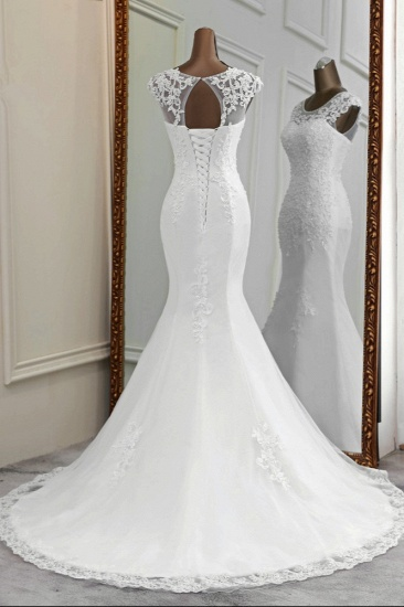 Gorgeous Jewel Sleeveless White Lace Mermaid Wedding Dresses with Appliques_3