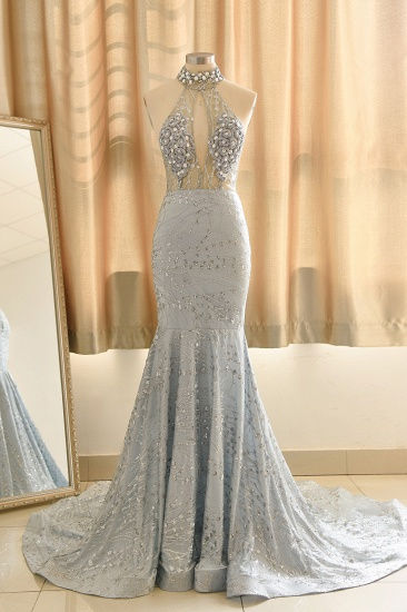 Luxurious Halter Rhinestones Prom Dress Mermaid Long Online_3