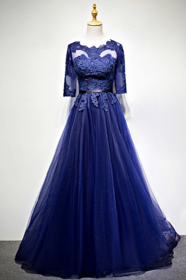 Elegant Jewel Dark Navy Tulle Ruffle Prom Dresses Long Sleeves Appliques Formal Dresses with Rhinestones_1