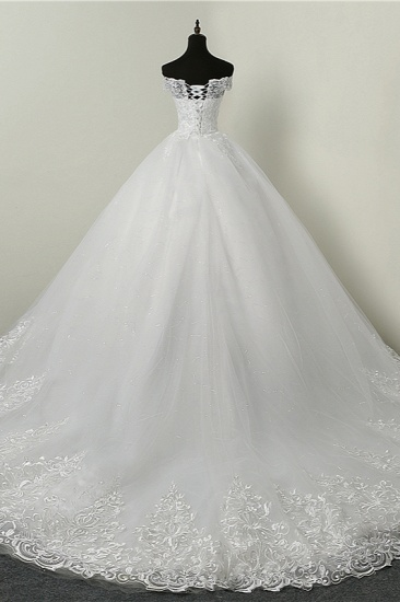 BMbridal Ball Gown White Tulle Sleeveless Wedding Dresses Off-the-Shoulder Lace Appliques Bridal Gowns_3
