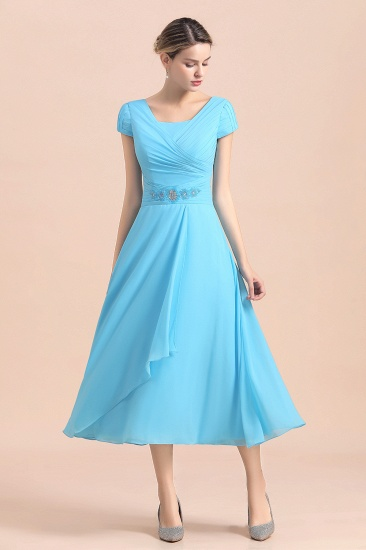 Blue Short Sleeves Chiffon Mother of the Bride Dress Tea-Length Online_8