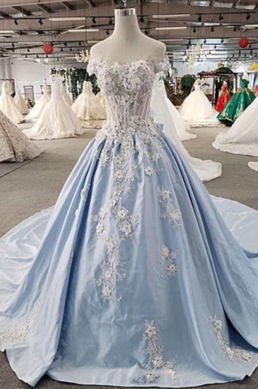 AffordableLight Blue Satin Sweep Train Wedding Dress Off Shoulder Sleeveless Bridal Gowns On Sale_1