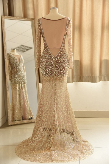 Glamorous Jewel Lace Front Slit Prom Dresses Long Sleeves Appliques Formal Dresses with Pearls_3