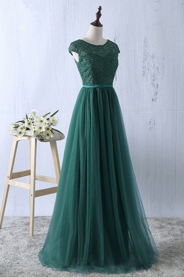 Elegant Dark Green Tulle Jewel Prom Dresses Sleeveless with Appliques Online_5