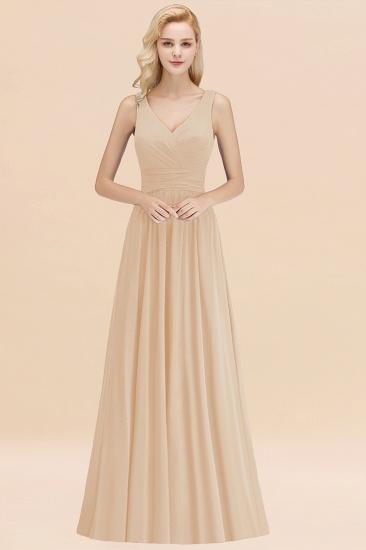 Modest Sleeveless V-Neck Long Chiffon Bridesmaid Dress Online with Ruffle_14