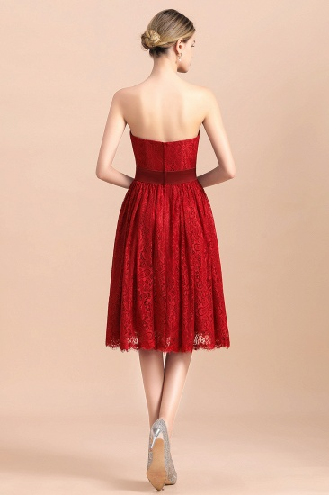 BMbridal Pretty Strapless Red Lace Bridesmaid Dresses Sleeveless Short Wedding Party Dress with Sash_3