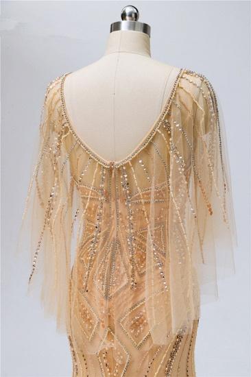 Elegant Tulle Beadings Gold Mermaid Prom Dresses Short Sleeves Rhinestones Evening Dresses Online_7