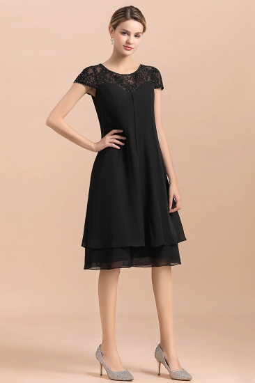 BMbridal Chic Black Cap Sleeve Mother of Bride Dress Chiffon Short Wedding Party Gowns_9