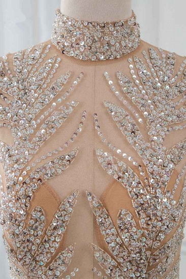 Glamorous High-Neck Beadings Appliques Prom Dresses with Rhinestones_5