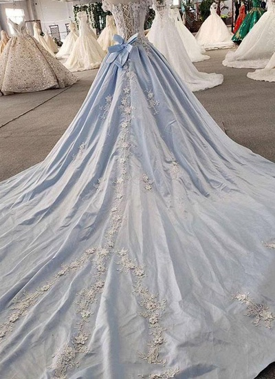 AffordableLight Blue Satin Sweep Train Wedding Dress Off Shoulder Sleeveless Bridal Gowns On Sale_3