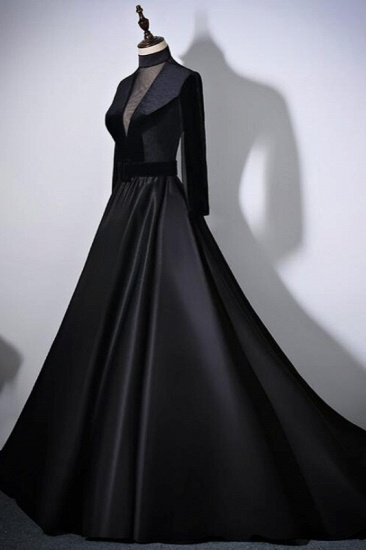 BMbridal Chic V-Neck Ruffles Black A-Line Prom Dresses Long Sleeves Evening Dresses with Sash_5