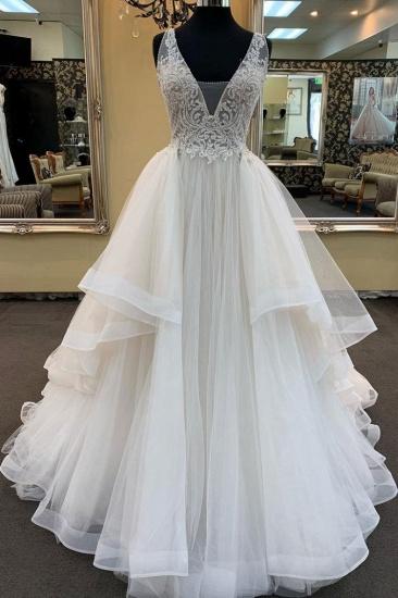 BMbridal Glamorous White Tulle Lace Ruffles White Wedding Dress Sleeveless Appliques Bridal Gowns On Sale_1