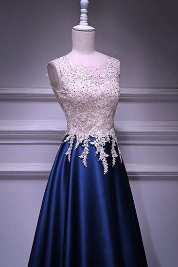 Elegant Jewel Dark Navy Beadings A-Line Prom Dresses Sleeveless Appliques Ruffle Party Dresses On Sale_5