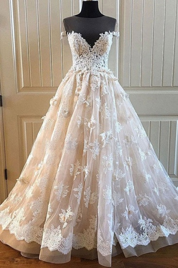 BMbridal Elegant Creamy Lace Sweetheart Long Wedding Dress A Line Appliques Bridal Gowns On Sale_1