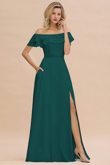 Exquisite Off-the-shoulder Slit Mint Green Bridesmaid Dress With Pockets_33