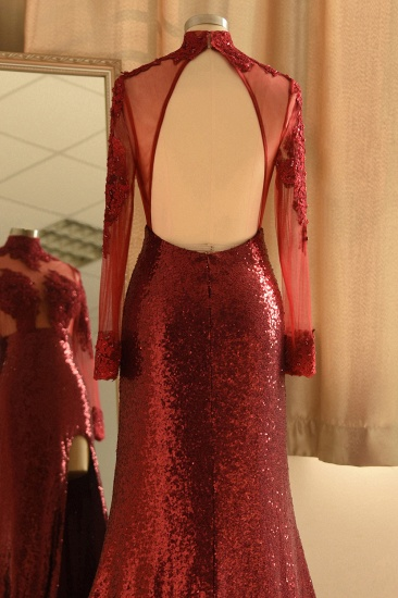 Sexy High-Neck Burgundy Sequined Slit Prom Dresses Long Sleeves Appliques Backless Formal Dress with Sheer Top_6