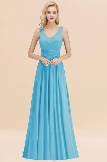 Modest Sleeveless V-Neck Long Chiffon Bridesmaid Dress Online with Ruffle_24