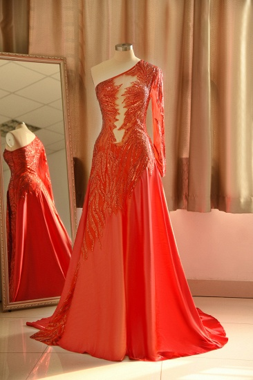 Chic One-Shoulder Red Sequined Prom Dresses One-Sleeve Sexy Party Dress On Sale