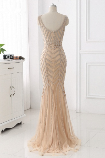 Elegant Gold Tulle V-Neck Sleeveless Prom Dresses with Beadings On Sale_3