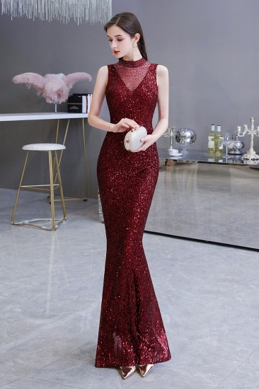 BMbridal Gorgeous Burgundy Sequins Long Mermaid Prom Dress On Sale_6