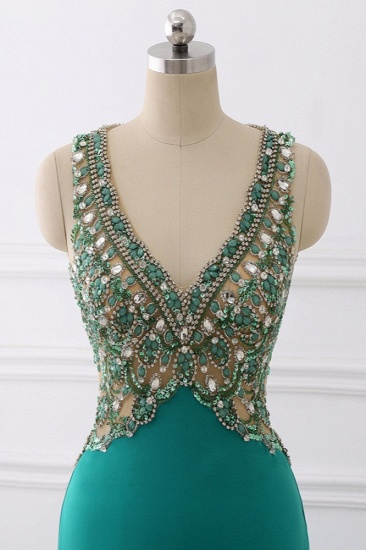 Sexy V-Neck Appliques Mermaid Prom Dresses Sleeveless with Crystals On Sale_6