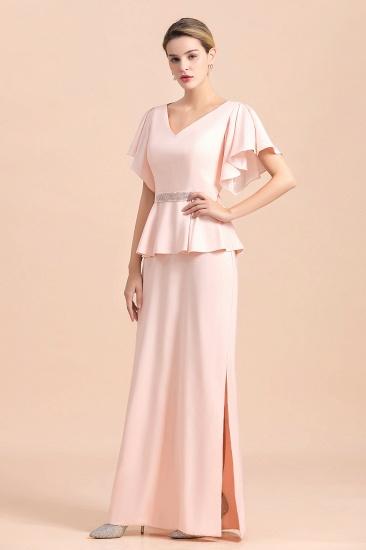 BMbridal Glamorous V-Neck Front Slit Mother of Bride Dresses with Beadings Sash_5
