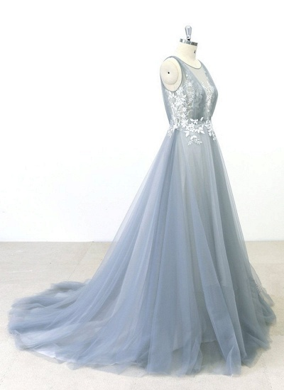 BMbridal Elegant Gray Tulle Round Neck Beach Wedding Dress Jewel Sweep Train Bridal Gowns On Sale_5