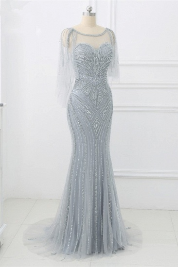 Elegant Tulle Jewel Beadings Mermaid Prom Dresses with Ruffles Online_4