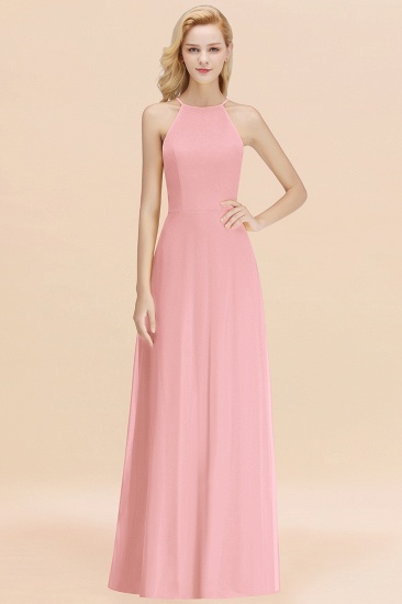 Modest High-Neck Yellow Chiffon Affordable Bridesmaid Dresses Online_4