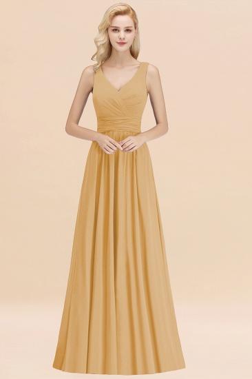 Modest Sleeveless V-Neck Long Chiffon Bridesmaid Dress Online with Ruffle_13