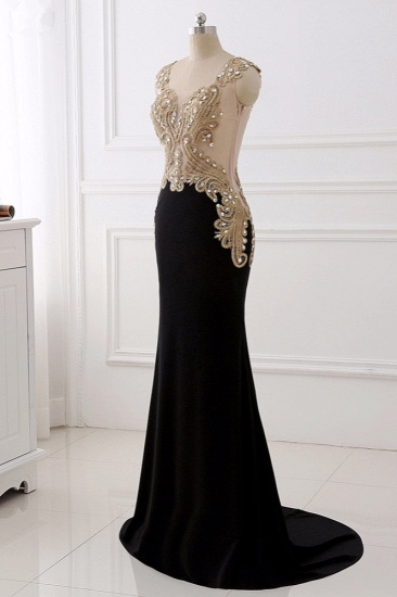 Affordabe V-Neck Sleeveless Mermaid Prom Dresses Gold Appliques with Crystals_4
