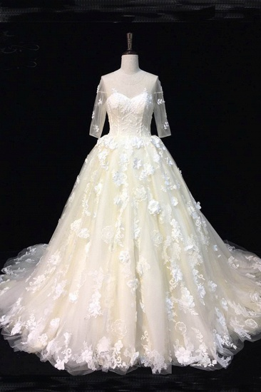 BMbridal AffordableBeautiful Ivory Lace Sweep Train Wedding Dresses Half Sleeves Appliques Bridal Gowns On Sale_1