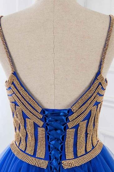 Elegant Spaghetti Straps V-Neck Sleeveless Prom Dresses with Rhinestone Ruffles_7