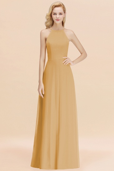 Modest High-Neck Yellow Chiffon Affordable Bridesmaid Dresses Online_13
