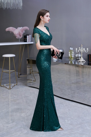 BMbridal Elegant Cap Sleeve Green Prom Dress Sequins Long Evening Gowns Online_5