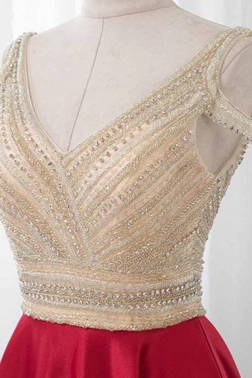 Glamorous V-Neck Rhinestone Burgundy Mermaid Prom Dresses with Cold Sleeves Online_6