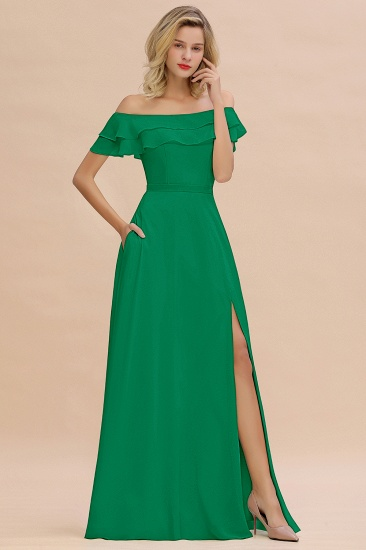 Exquisite Off-the-shoulder Slit Mint Green Bridesmaid Dress With Pockets_32