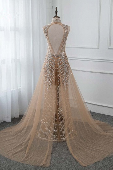 Glamorous High-Neck Beadings Appliques Prom Dresses with Rhinestones_3