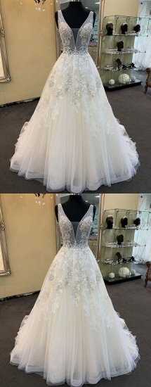 Glamorous Unique White Tulle V-Neck Wedding Dress Long Beaded Lace Bridal Gowns On Sale_4