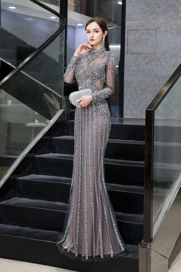 BMbridal Gorgeous Long Sleeve Mermaid Prom Dress With Sequins High-Neck Evening Gowns_6