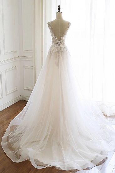 Gorgeous White Tulle Lace Long Wedding Dress Sleeveless Custom Size Bridal Gowns On Sale_3