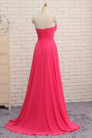 Chic Strapless Sweetheart Watermelon Prom Dresses A-Line Ruffles Crystals Evening Dresses Online_3