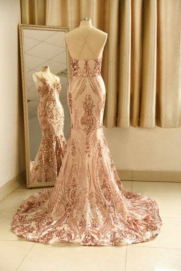 BMbridal Sexy V-Neck Rose Gold Prom Dress Mermaid Long Sequins Evening Party Gowns_12