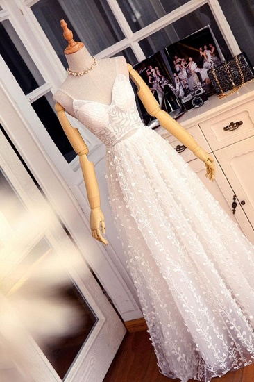 BMbridal Gorgeous Sweetheart Long Spaghetti Straps Wedding Dress Sleeveless Appliques Bridal Gowns On Sale_4