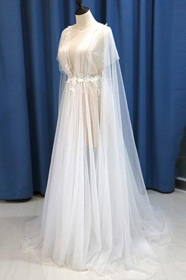 BMbridal Glamorous White Tulle V-Neck Beach Wedding Dress A Line Flower Bridal Gowns On Sale_5