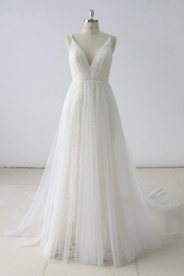BMbridal Gorgeous Simple White Lace V-Neck Long Wedding Dress Sleeveless Appliques Bridal Gowns On Sale_1
