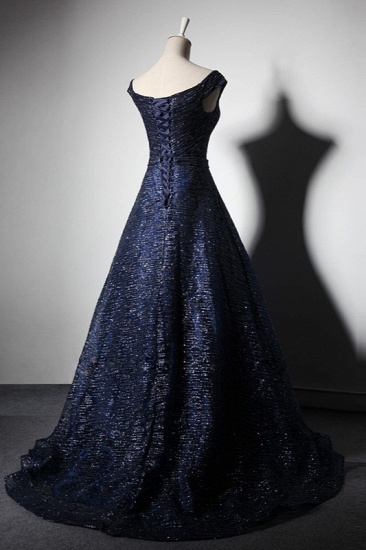 Glamorous Off-the-Shoulder Dark Navy Prom Dresses Sweetheart Sleeveless Sequins Formal Dresses Online_4