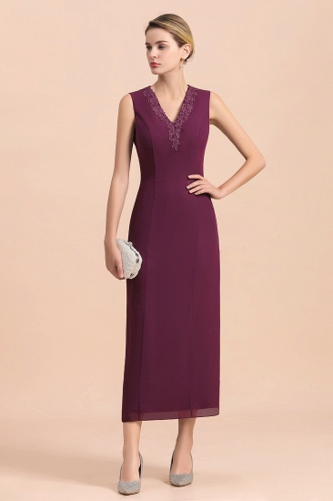 BMbridal Elegant V-Neck SLeeveless Apppliques Grape Mother of Bride Dress with Wraps_10